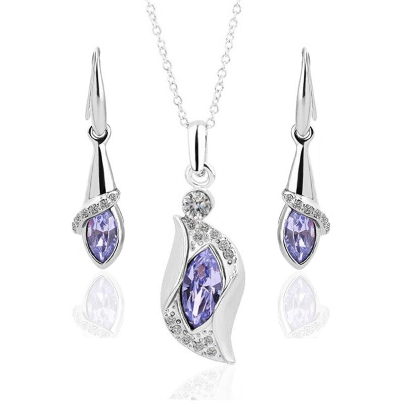 Free Shipping 18K GP Gold Plated Jewelry Set Fashion Nickel Free Tin Alloy Rhinestone Crystal Necklace Earring SMTPS105