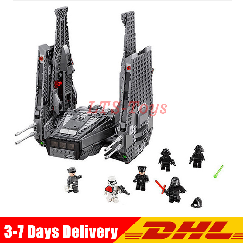 In Stock DHL Lepin 05006 1053Pcs Star Wars  Kylo Ren Command Shuttle  Building Blocks Educational Toys Compatible Legoing 75104 dhl new lepin 06039 1351pcs ninja samurai x desert cave chaos nya lloyd pythor building bricks blocks toys compatible 70596