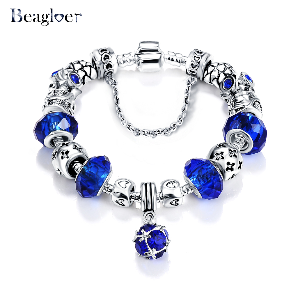 queen reliable jewelry new store with beagloer product com for murano women crown aliexpress style blue bracelet beads antique silver buy bangle european from charm crystal glass