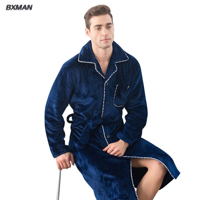 BXMAN Brand New Style Homens Robe Roupão de Banho Dos Homens Engrossar Roupões de Flanela Outono Inverno Casual Longos Roupões de Banho Dos Homens Sleepwear Robe360