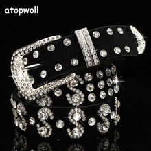 New Arrivals 2019 Luxury SS rhinestones Genuine leather belts for women Jeans Wide Pin buckle woman Belt Blingbling