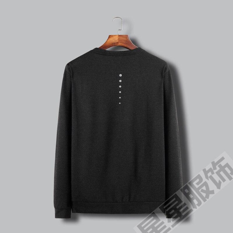 Плюс 8XL 6XL 5X 2 в 1 Новая Осенняя Хлопковая мужская футболка, ультра низкая цена, Мужская футболка с длинными рукавами, круглый вырез, чистый цве... - 4