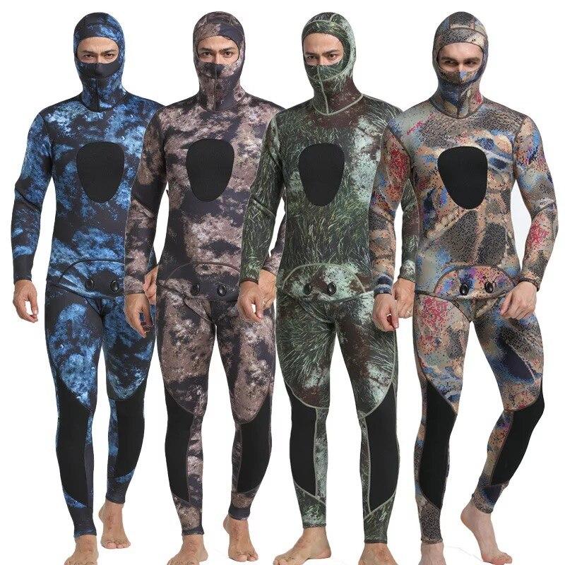 Muta in neoprene 3 millimetri degli uomini di pesca diving pesca subacquea muta surf snorkel Spaccato del costume da bagno Vestiti combinazione di surf muta