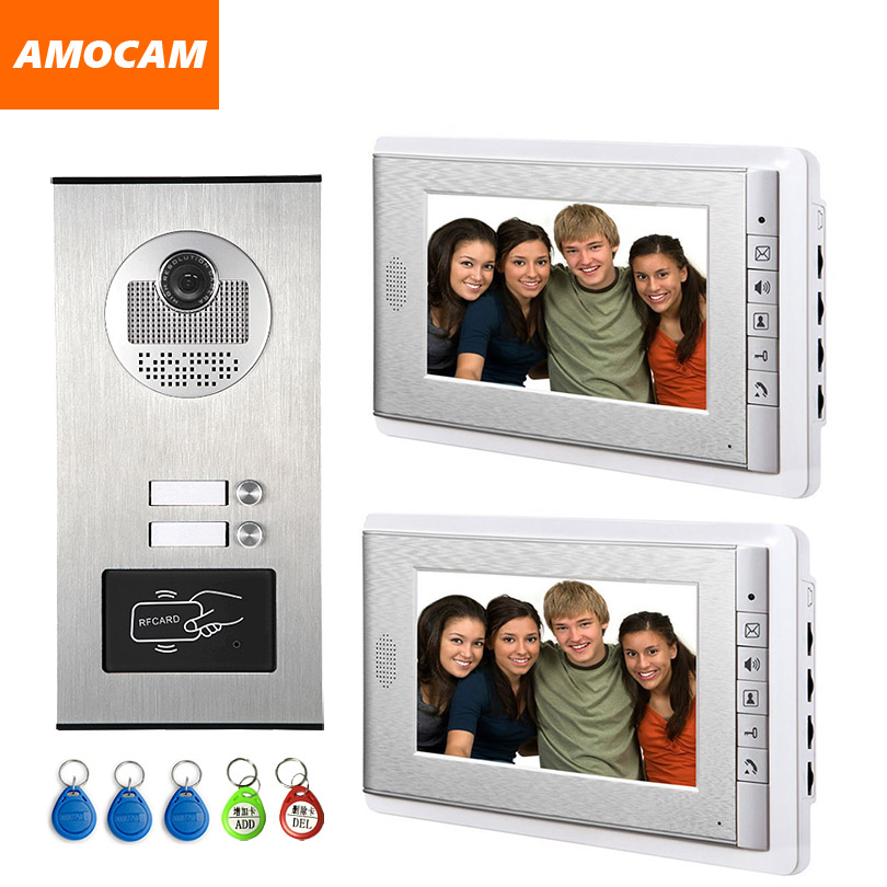 2 Units Apartment Intercom System Video Door Phone Door Intercom Aluminum Alloy Camera 7