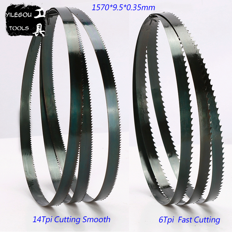 3 Pieces Band Saw Blades 1570*9.5*0.35mm*14Tpi Woodworking Band Saw Blades Durable 9.5*0.35*1570mm*6 Teeth