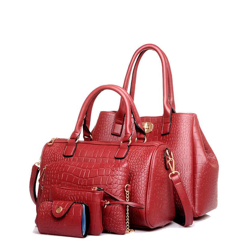 5 pçs/set Conjuntos Bolsa Embreagens Bolsa Sacos Das Mulheres Jacaré Bolsa de Ombro Feminino de Couro Das Mulheres Sacos Do Mensageiro Saco Top-handle HC327