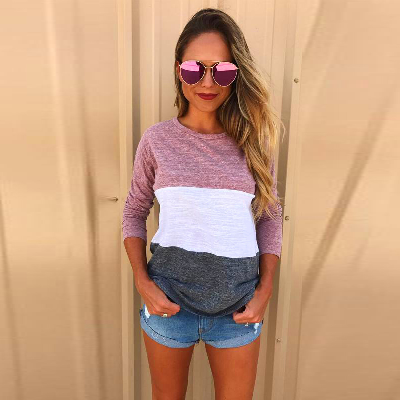 2018 Autumn Women TShirt  Ladies Casual O-neck Long Sleeve Tops Tees Loose PactworkT shirts Blusas Plus Size Clothing For Women