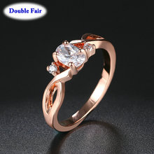 Fashion Spiral Rose Gold Women Rings For Anniversary Inlaid With Oval Shiny Cubic Zirconia Jewelry Wholesalae DWR785()