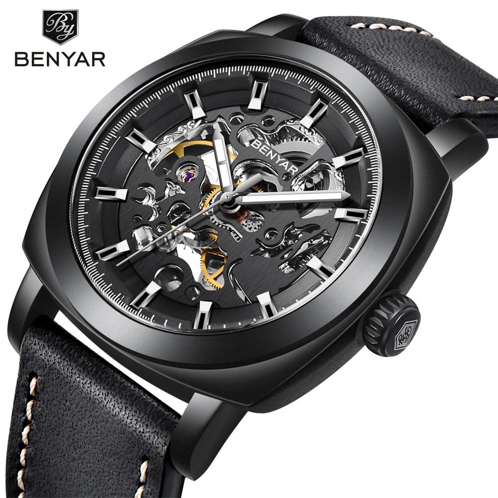 BENYAR watch Men Luxury Top Brand Mechanical Watch Fashion Business Men Watch Automatic Steel Wristwatch Luminous