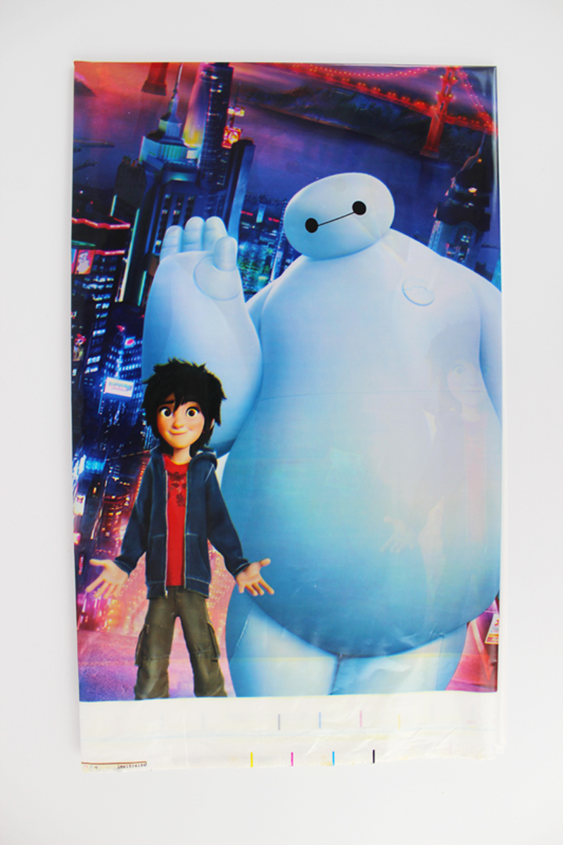 FreeShipping Kid Girl Baby Happy Birthday Party Decoration Kids Supplies Favors Big Hero 6 Table Cloth Size 220cm X 132cm