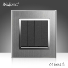 цена на 4 Gang 1 Way Wallpad 16A AC 110-250V EU UK Standard Brushed Silver Metal 4 Gang Button Hotel Lighting Switch Free Shipping