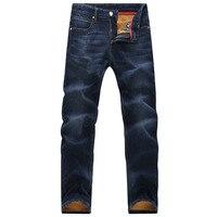 plus size50 48 46 44 42 winter thickening and velvet long straight men's 100% cotton denim jeans fitness solid jeans pants men's