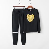 2016 Gold Heart Hollow Out Lady Tracksuit Women Hoodies Sweatshirt +Pant Costumes Tracksuit For Women 2 Piece Set