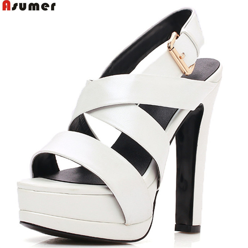 Asumer black white fashion new 2018 summer shoes woman buckle platform super high ladies genuine leather high heels sandals woman fashion high heels sandals women genuine leather buckle summer shoes brand new wedges casual platform sandal gold silver