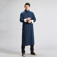 LZJN Linen Shirts Men Chinese Clothing Long Sleeve Dress Shirts Vintage Robe Ethnic Outfit Masculina Gomlek Blusa Masculina MF 6