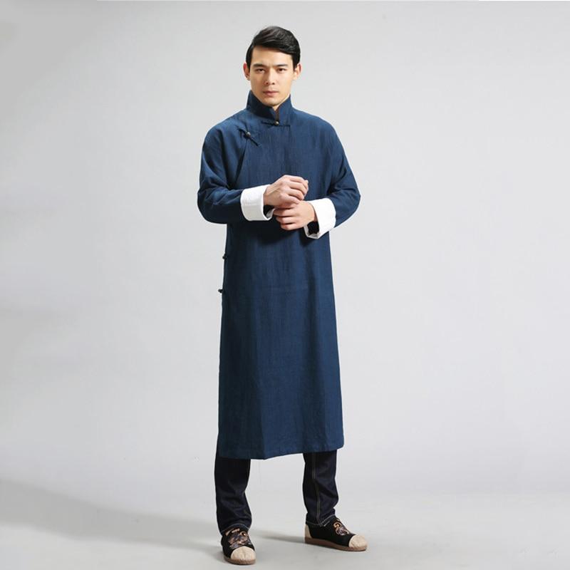 LZJN Linge Chemises Hommes Chinois Vêtements À Manches Longues Robe Chemises Vintage Robe Ethnique Tenue Masculina Gomlek Blusa Masculina MF-6