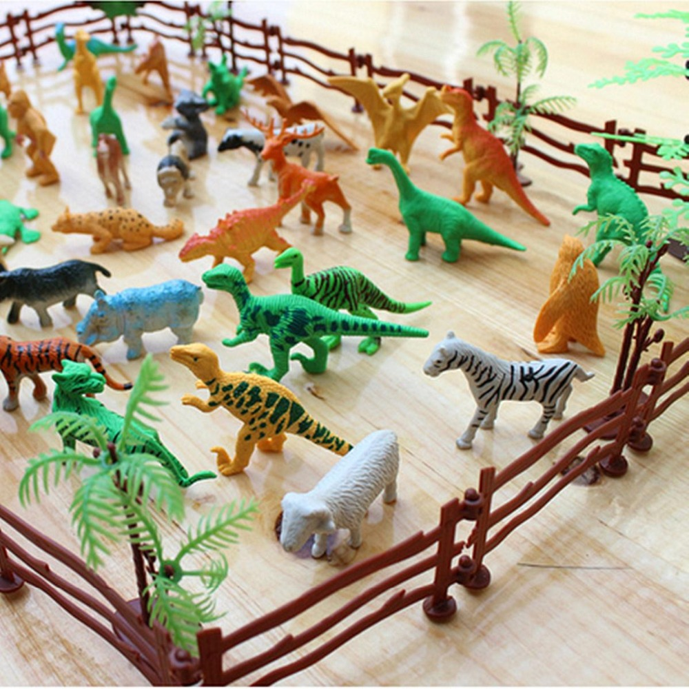68PCS set Plastic Farm Yard Wild Fence Tree Animals Model Kids Toys Figures Play Set Toys For Children Kids Adult in Action Toy Figures from Toys Hobbies