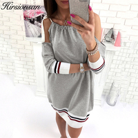 Hirsionsan Off Shoulder Autumn Dress 2017 Three Quarter Sleeve Lace Up Short Dresses Casual Cotton Striped