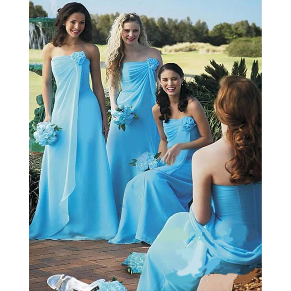 New Sky Blue Flower   Bridesmaid     Dresses   Vestido Para Madrinha Abendkleider 2019 Pleat Appliques Wedding Party Gown Robe De Soiree
