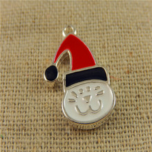 5pcs/pack Colorful Christmas Cat Enamel Alloy Charms Necklace Pendant Cute Baby Gift Handmade Jewelry Making 21*12*2mm 50653