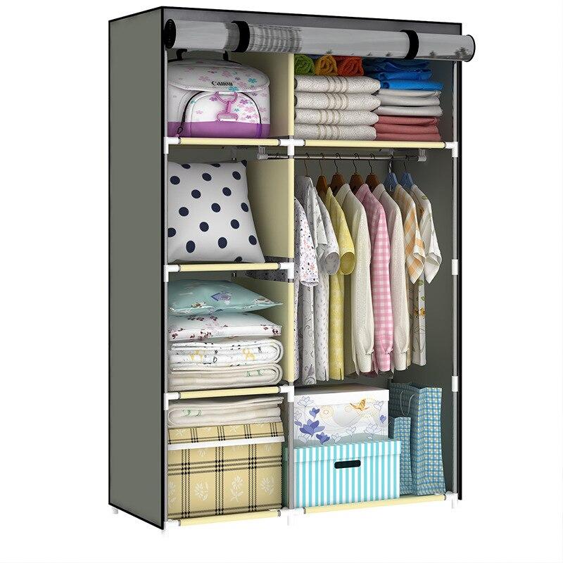 Cintre en acier inoxydable non-tissés en tissu assemblage Simple peut enlever chambre patère à vêtements organisateur de stockage garde-robe