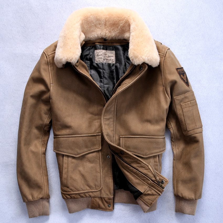 0d67e2c21 US $278.0 |2019 flight jacket men's genuine leather jacket with fur collar  real cowskin leather bomber jacket men winter leather coat-in Genuine ...