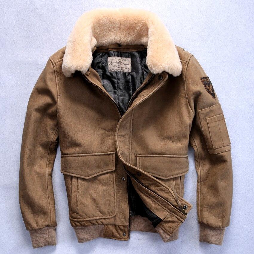 US $236.3 15% di SCONTO|2019 giacca di volo genuino degli uomini giacca di pelle con collo di pelliccia vera pelle di vitello bomber degli uomini di