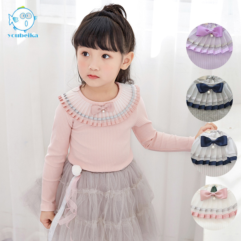 Clothing Spring 2017 Girls T-shirt Long Sleeve Casual Kids Korean Clothes For Girls Cotton Tees With Cute Bow Children T-shirts novatx baby girl t shirt kids t shirts for girls clothes long sleeve dot cute little deer printed t shirt new children clothing