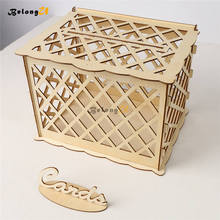 DIY Wedding Wooden Money Box With Lock Party Decor Keepsake Gift Secure Card Holder Decoration Container