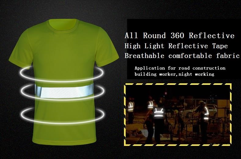 High visibility Breathable fluorescent mesh reflective T-shirt round collar traffic police safety warning overalls купить недорого в Москве
