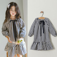 Ruffles Baby Teenage Girls Dress Long Sleeve Cotton Black White Striped Princess Dresses For Little Girls School Spring Clothing