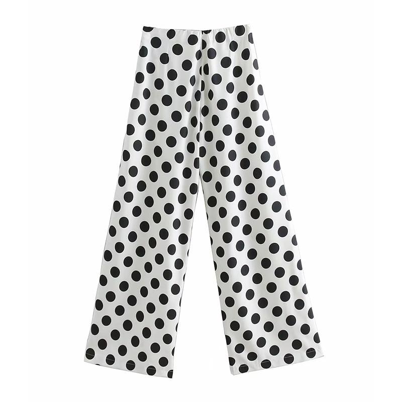 Summer Dot Wide Leg Pants Bohemian High Waist Pleated Women Fashion Mid Full Pants Loose Flare Lightweight Flat Pants