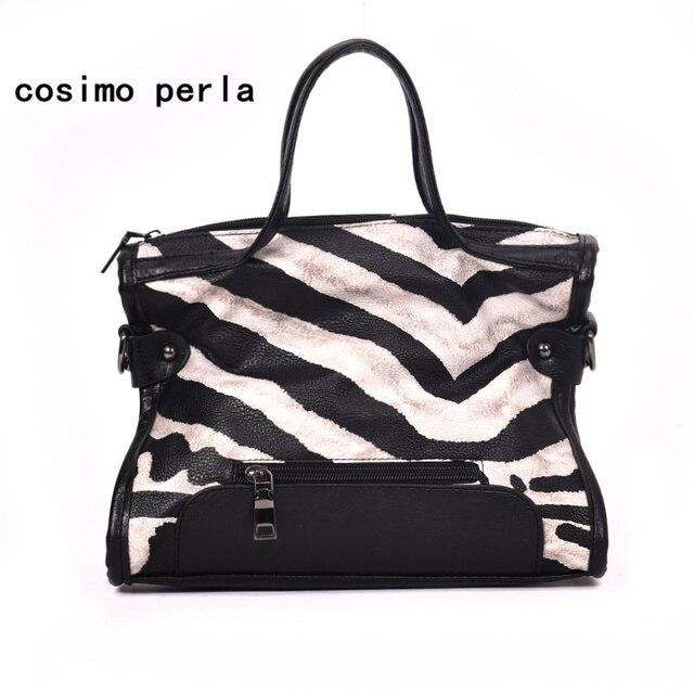 a86db39dc3b3 Luxury Fashion Women Leather Handbags Zebra Striped Tote Shoulder Crossbody  Bags Personality Animal Prints Designer Purse Female