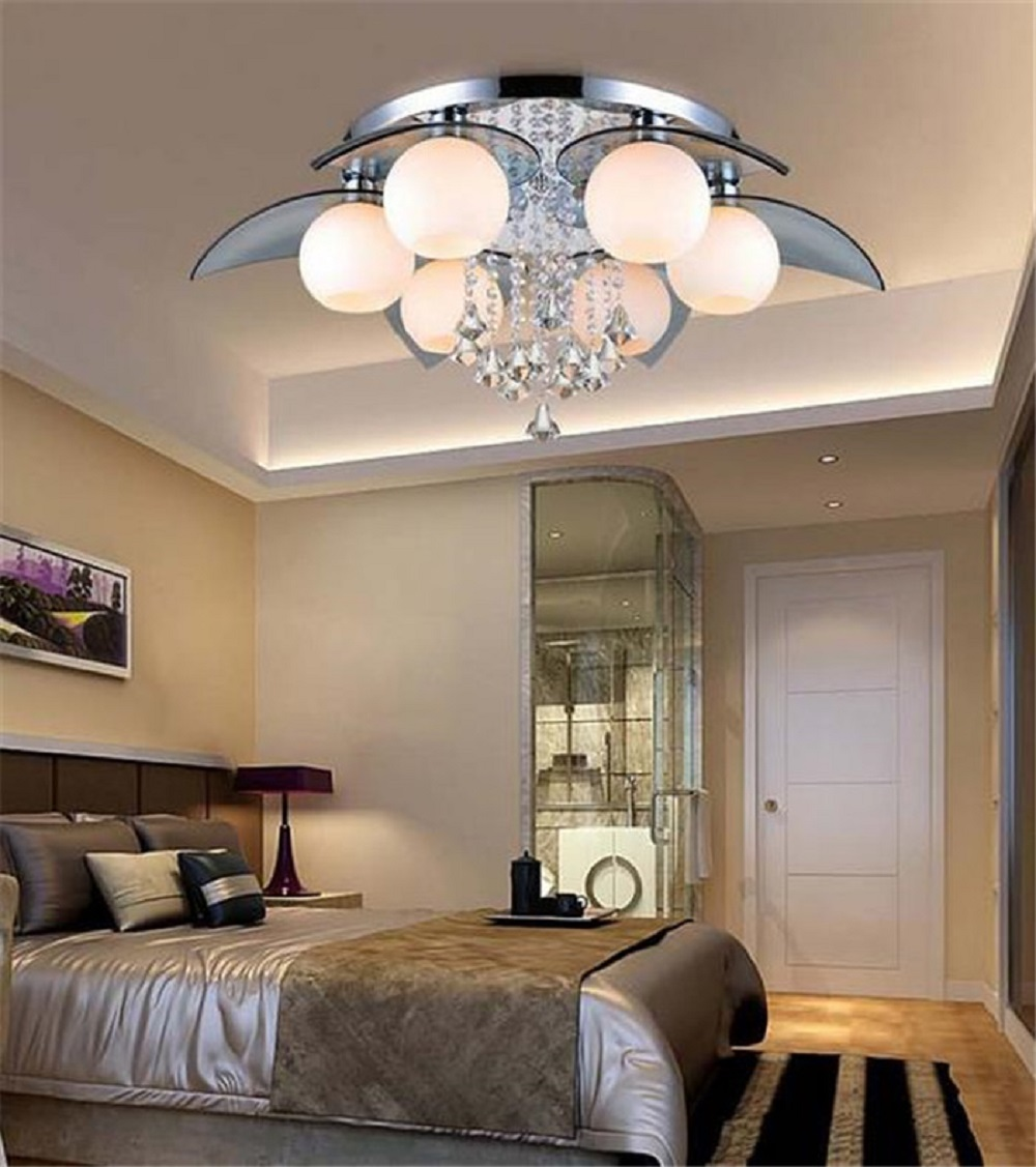220V Remote Control LED Chandeliers Crystal Luster Lamps Living Room Bedroom Beautiful Lamp Fixture Luminaria Luces