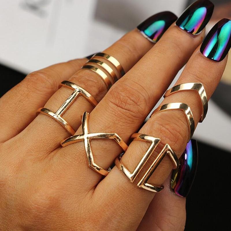 5 Pcs/ Set Classic Gold Colour V Chevron Rings Geometrical Irregular Ring Set Lady Charm Costume Jewelry Accessories Midi Rings