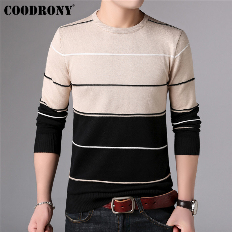 Image 2 - COODRONY Casual O Neck Pull Homme Cotton Sweater Men Clothes 2018 Autumn Winter Soft Wool Pullover Men Long Sleeve Knitwear B015-in Pullovers from Men's Clothing