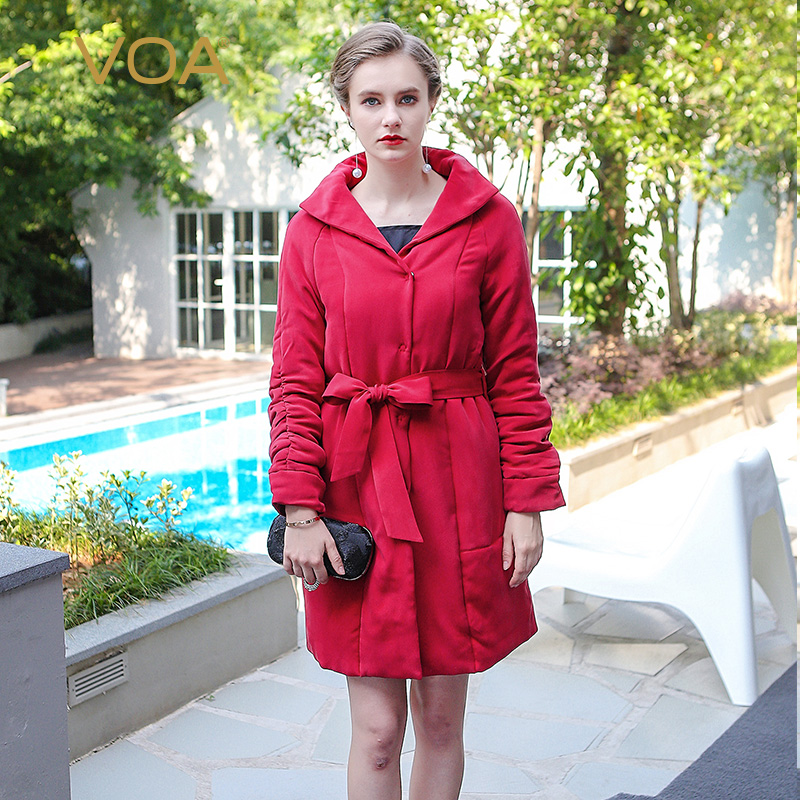 VOA 2017 Autumn Winter Brief Solid Chinese Red Plus Size Tunic Parka Coat Heavy Silk Casual Women Sash Midi Warm Coat M3602 voa 2017 autumn winter new fashion women slim short jacket white brief casual long sleeve print silk jacquard coat m6137