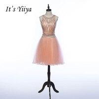 Es YiiYa Pink Illusion Cremallera O-cuello Longitud de La Rodilla Vestidos Vestido de Cóctel de Cristal Transparente Cuello Bling Partry Vestidos Z019