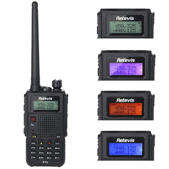 8 w walkie talkie retevis rt5 rádio dual band vhf/uhf 136-174 + 400-520 mhz Digitalização 128CH VOX DTMF Rádio FM 1750Hz Rádio Em Dois Sentidos A9108Q
