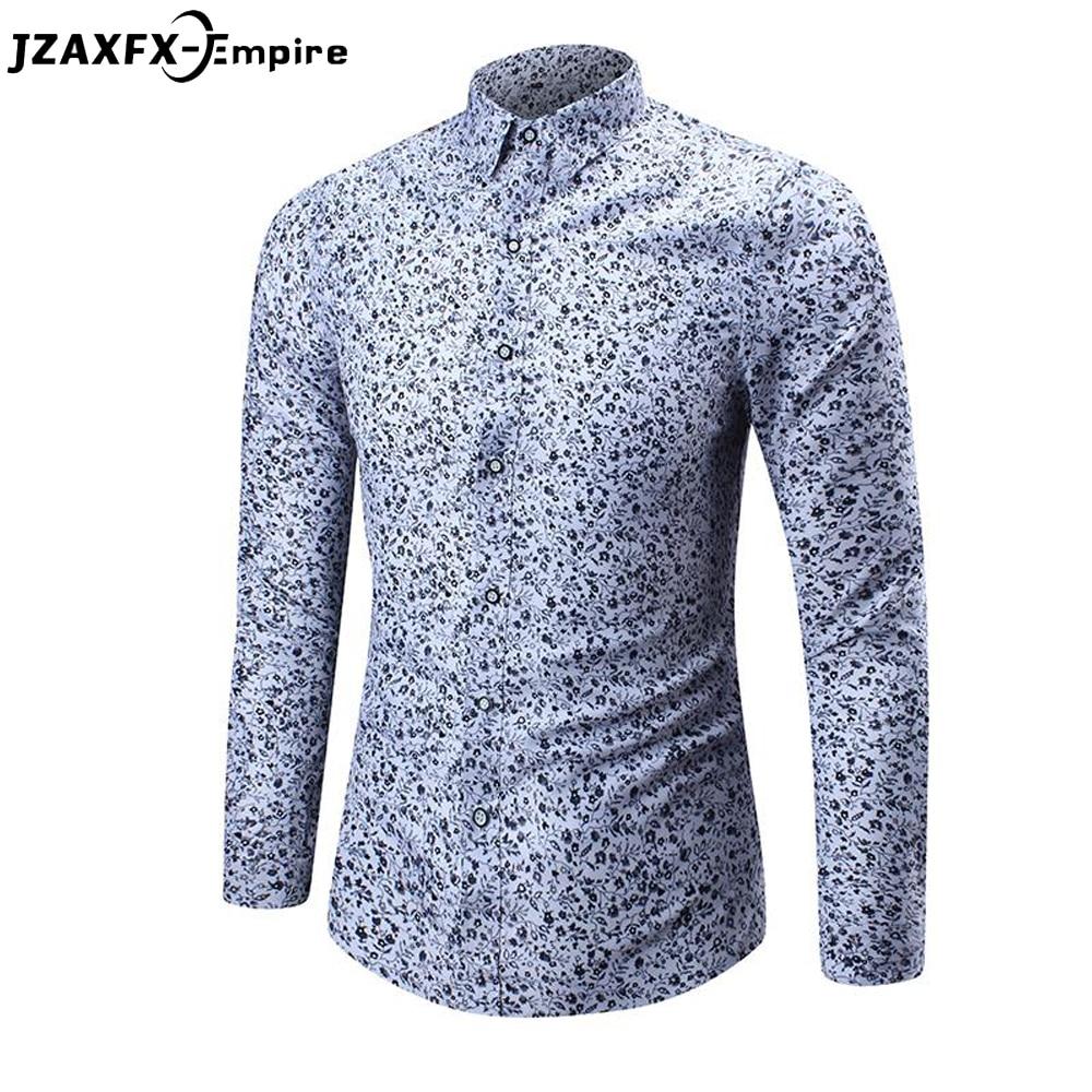2018 New Fashion Print Shirt Men Casual Long Sleeve Slim Shirt Top Quality camisa masculina Male Flower blusas ...