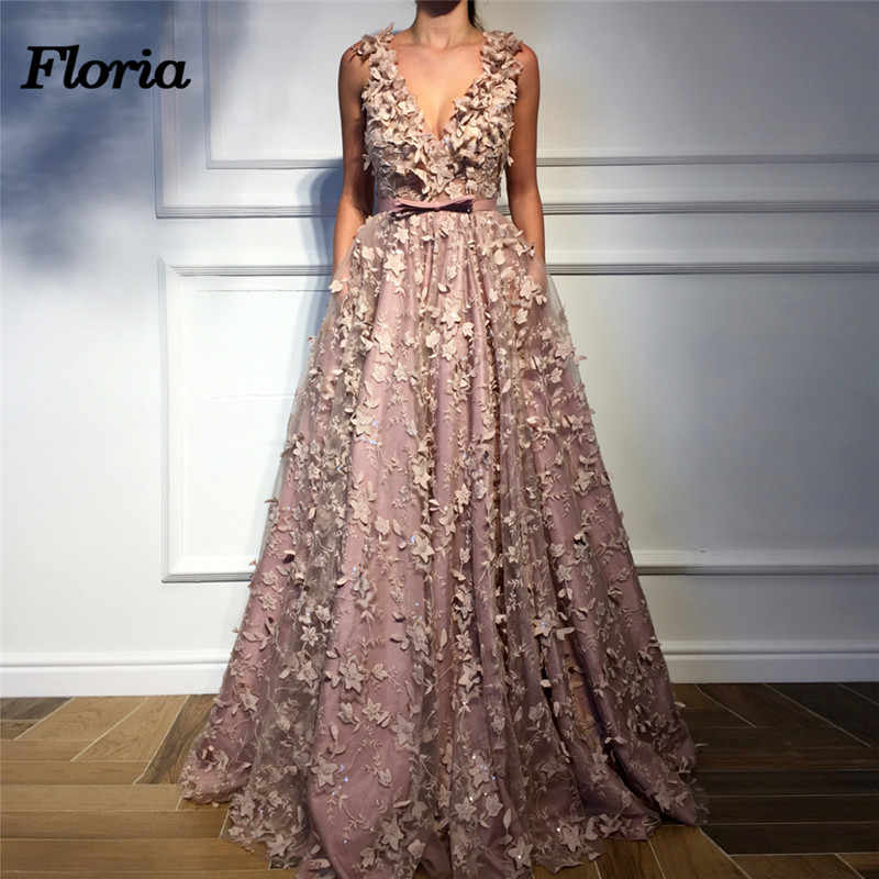 1f9ba3ba1b9b9 3D Flower Evening Dresses Dubai Arabic Pageant Dress Muslim Turkish Kaftans  African V neck Formal Prom Gowns 2018 Robe de soiree