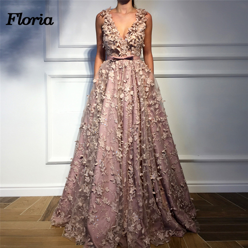 3D Flower   Evening     Dresses   Dubai Arabic Pageant   Dress   Muslim Turkish Kaftans African V neck Formal Prom Gowns 2018 Robe de soiree