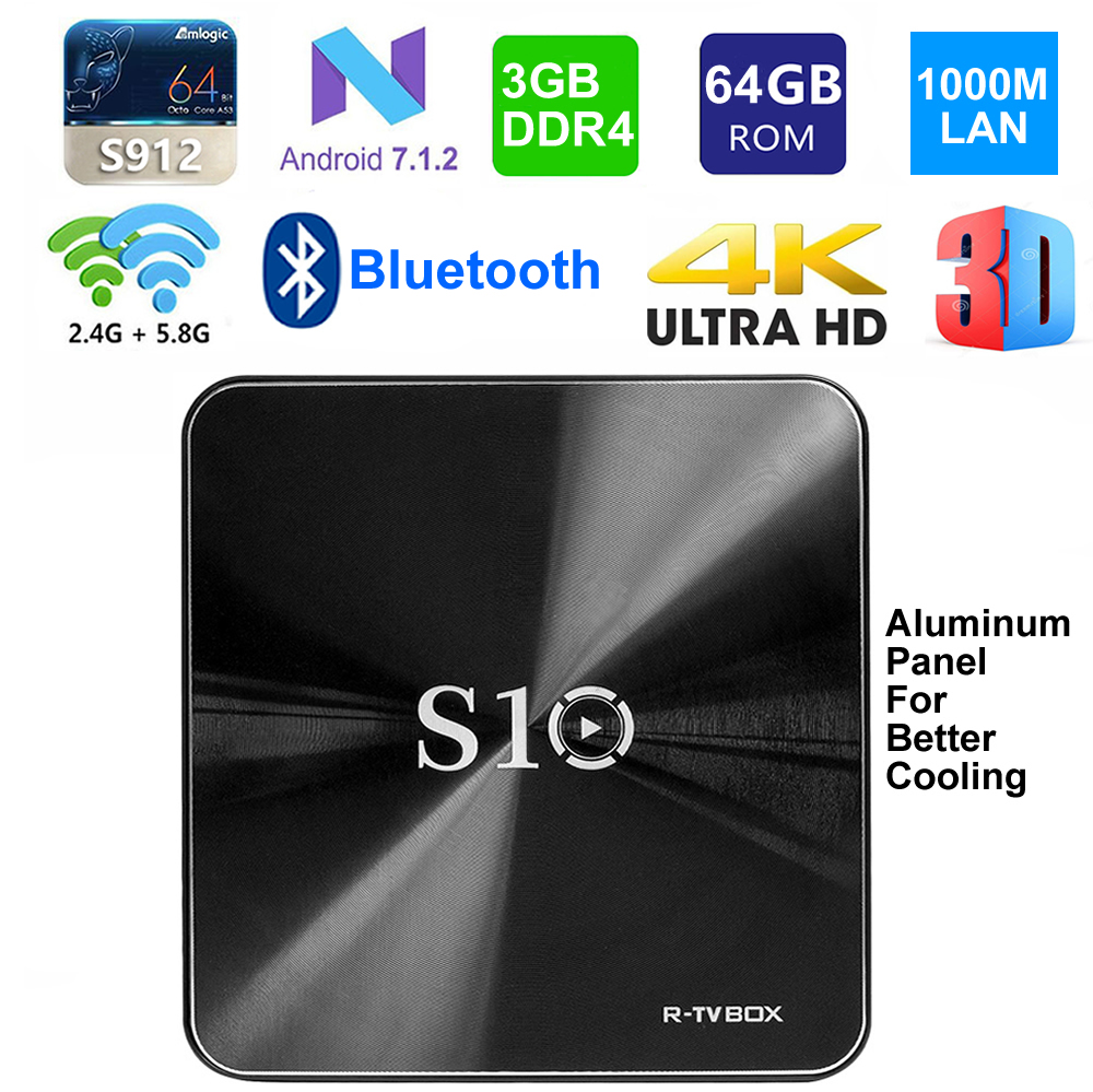 R-TV SCATOLA S10 Android 7.1 Smart TV Box S912 Octa core 3 gb DDR4 di Ram 64 gb Rom BT 4.1 5g Dual WIFI 1000 m Lan 3D 4 k IPTV set top Box