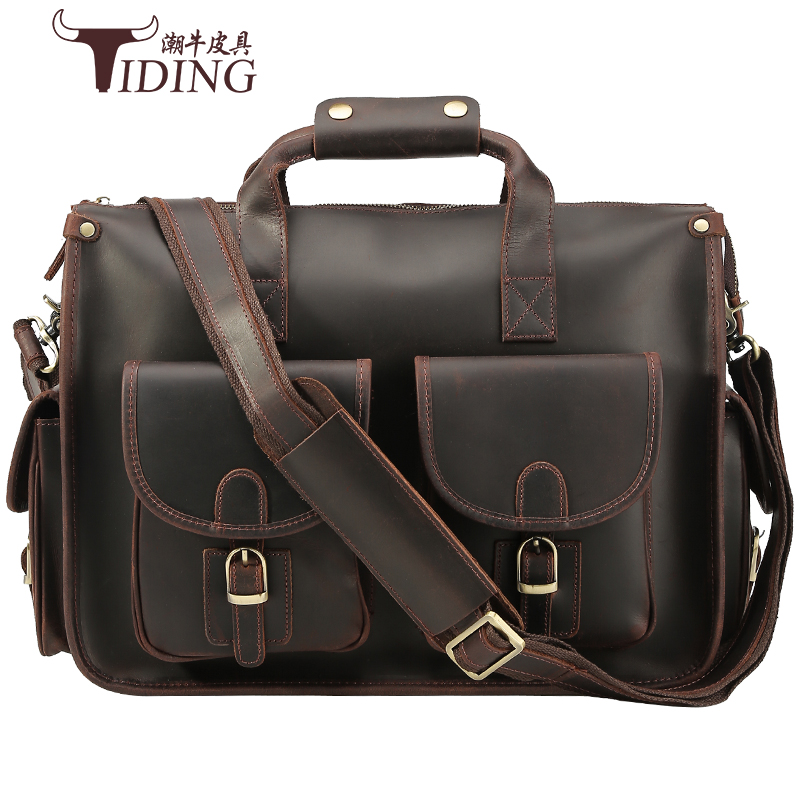 Porte-documents pour hommes en cuir véritable marron grande capacité sac à main Vintage décontracté marque 2019 nouveau homme épaule main sacs à bandoulière