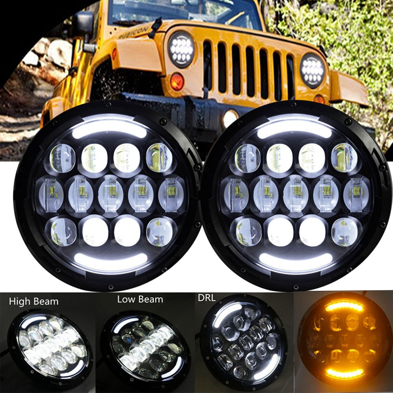 Pair 7 Inch Round LED Headlight White Halo Angel Eye & DRL LED Projection Lens For LJ Tj Fj Cruiser Hummer MAC