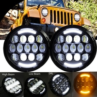 Pair 7 Inch Round LED Headlight White Halo Angel Eye DRL LED Projection Lens For LJ