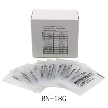 18 Gauge 100PC Piercing Needles Sterile Disposable Body Piercing Needles 18G For Ear Nose Navel Nipple for Piercing Supplies фото