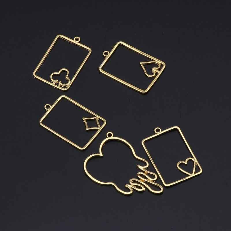 5 個ポーカーカード溶融ハートメタルフレームのジュエリー UV 樹脂チャームベゼル設定