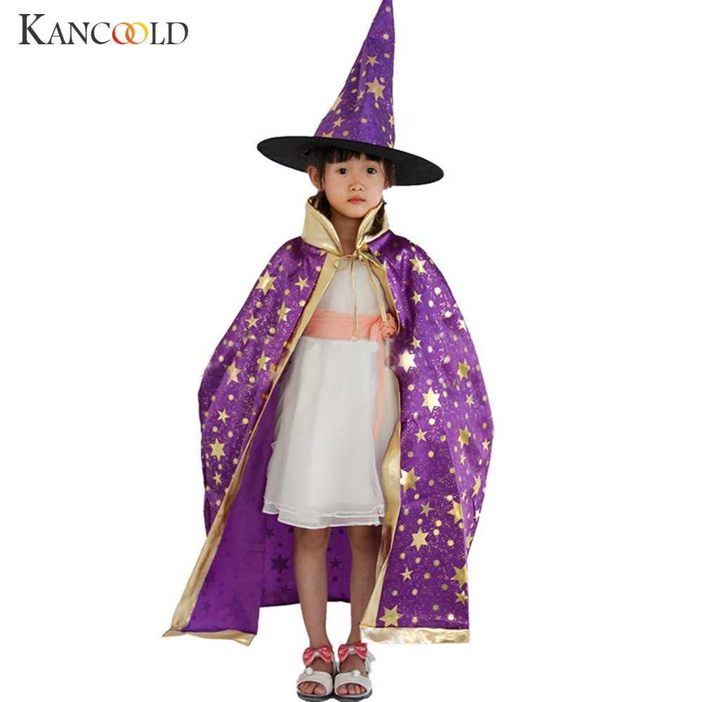 Crianças feliz dia das bruxas traje conjunto bruxo capa capa manto e chapéu para menino menina dropshipping au4