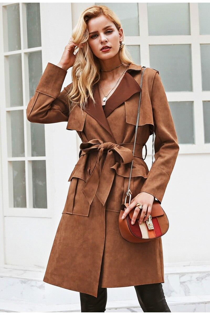 49d98c399 Turn Down Collar Sash Suede Women Trench Coat - Camel – WOMENEXY